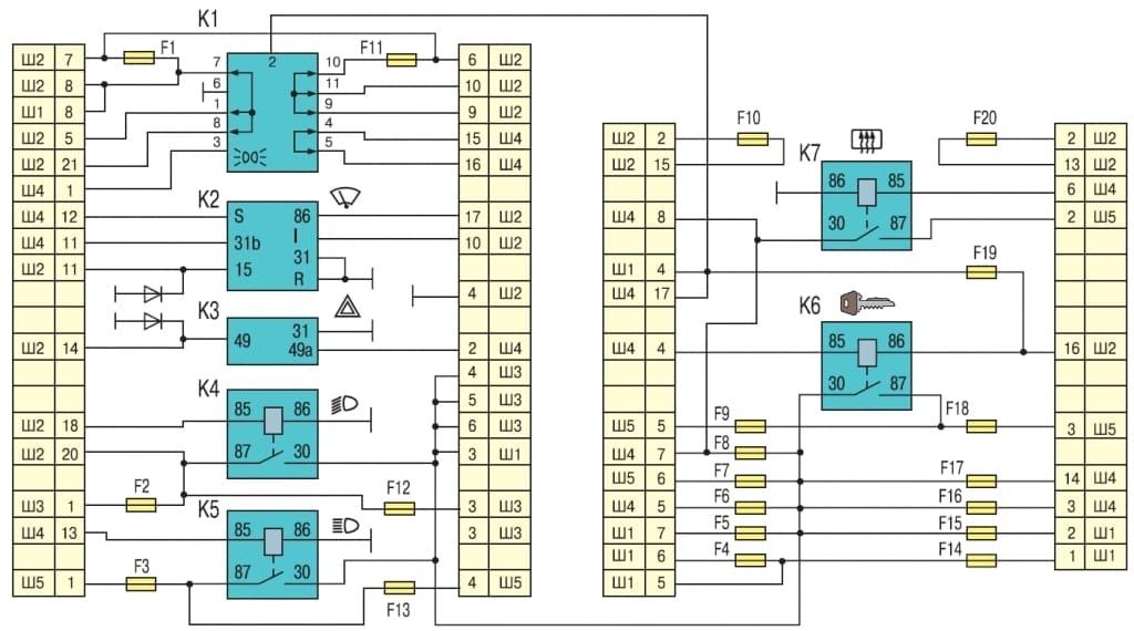 электросхема блока предохранителей