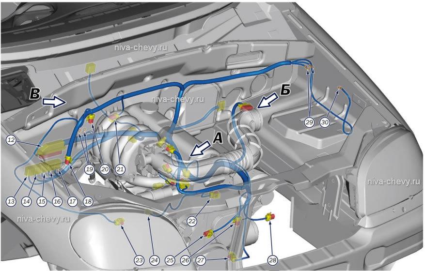нива шевроле схема моторного отсека