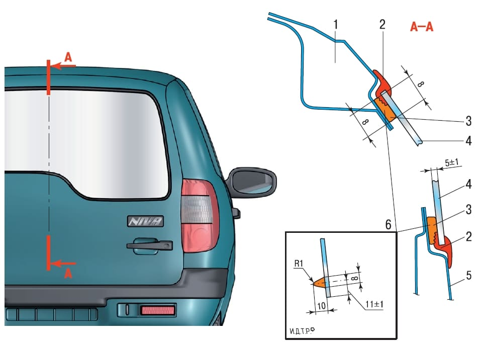 Схема установки стекла двери